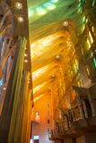 Interior of Sagrada Familia, Barcelona, Spain. Interior of Sagrada Familia in Barcelona, with view of stained-glass windows, columns, and ceiling stock photography