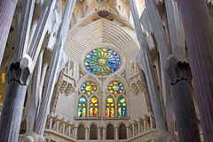 Interior of the Sagrada Familia Stock Photography