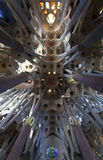 Interior of the Sagrada Familia church - Barcelona Stock Photo