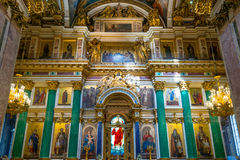 Interior of Saint Isaac's Cathedral in Saint Petersburg Royalty Free Stock Photo