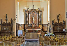 Interior of Saint Jean-Baptiste Parish church Royalty Free Stock Photography