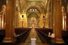 Interior of Saint Louis Cathed. Saint Louis Cathedral contains the largest mosaic collection in the world and covers 3,000 square feet. The installation royalty free stock photo