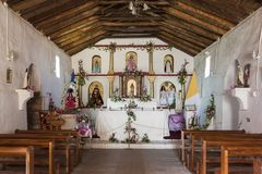 Interior of Saint Lucas Church, Toconao, Chile. South America royalty free stock images