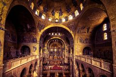 Interior of the Saint Mark`s Basilica in Venice royalty free stock images