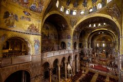 Interior of the Saint Mark`s Basilica in Venice royalty free stock image