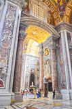Interior of the Saint Peter Cathedral in Vatican Stock Images