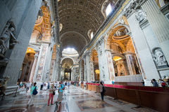 Interior of the Saint Peter Cathedral in Vatican Stock Photo