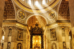Interior of Saint Peter's Basilica in Rome Stock Photography
