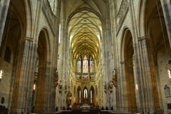 Interior of Saint Vitus Cathedral in Prague Stock Photos