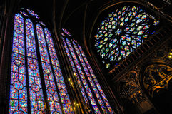 Interior of the Sainte-Chapelle in Paris. The interior of the Chapel Sainte-Chapelle in Paris, France Royalty Free Stock Photo