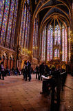 Interior of the Sainte-Chapelle in Paris. The interior of the Chapel Sainte-Chapelle in Paris, France Stock Photo
