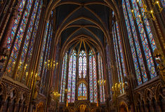Interior of Sainte-Chapelle, Paris, france Stock Photography