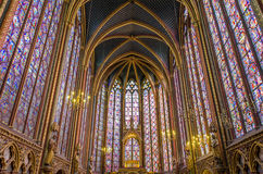 Interior of the Sainte Chapelle in Paris Stock Images