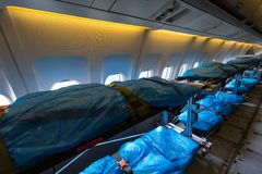 Interior of the salon for evacuation and first aid to the wounded of transport Airbus A310-900 MRTT MedEvac `Hermann Kohl`. German. BERLIN, GERMANY - APRIL 25 Royalty Free Stock Photography