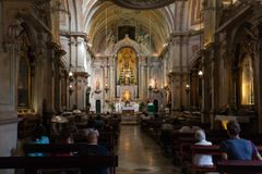 Santo Antonio Church in Lisbon, Portugal. Interior of the Santo Antonio Church, originated in the 12th century, rebuilt and redecorated in the 18th century stock photography