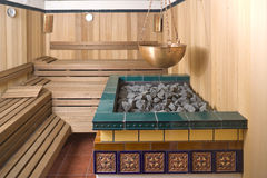 Interior of a sauna. Interior of a wooden sauna Stock Photo