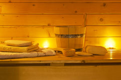 Interior of sauna and  accessories Stock Photography