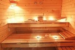 Interior sauna. Interior of sauna and sauna accessories Stock Photo