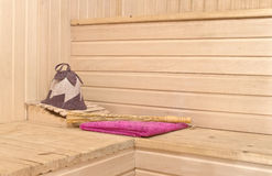 Sauna accessories in the interior Royalty Free Stock Photography