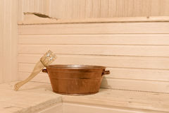 Sauna accessories in the interior royalty free stock photos