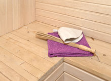 Sauna accessories in the interior stock photos