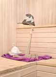 Sauna accessories in the interior Royalty Free Stock Photo