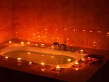 Interior of sauna with candle. Stock Photos