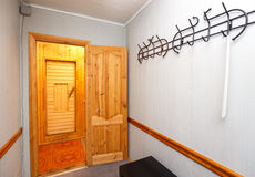 Interior of sauna entrance hall Royalty Free Stock Photography