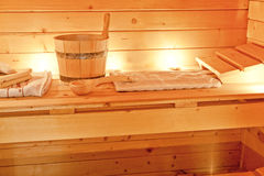 Interior of sauna and sauna accessories Royalty Free Stock Image