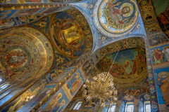 Interior of Savior on the Spilled Blood Cathedral in St. Petersb Royalty Free Stock Photography