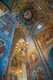 Interior of Savior on the Spilled Blood Cathedral in St. Petersb Royalty Free Stock Images