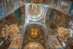 Interior of Savior on the Spilled Blood Cathedral in St. Petersb Royalty Free Stock Image