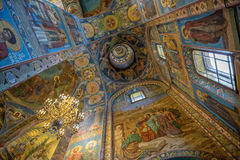 Interior of Savior on Spilled Blood Cathedral in St. Petersburg Royalty Free Stock Image