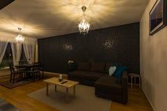 Interior scandinavian design of living room stock photography