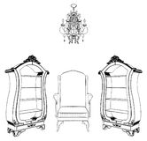 Interior Scene With Antique Armchair Bookcase. Chandelier Isolated Illustration Vector Royalty Free Stock Photos