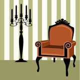 Interior scene with a candelabra Royalty Free Stock Photos