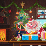 Interior scene of cartoon Santa Claus wrapping gifts for Christm. Indoor xmas cozy scene with Santa Claus in front of the fireplace preparing presents for Stock Photos