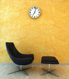 Interior scene chair with clock Royalty Free Stock Image