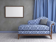 Interior scene with classic armchair. 3d interior scene with classic armchair Stock Images