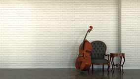 Interior scene with double bass. 3d interior scene with double bass and white wall from bricks Royalty Free Stock Photo