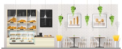 Interior scene of modern bakery shop with display counter , tables and chairs. Vector , illustration vector illustration