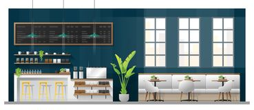 Interior scene of modern coffee shop with counter bar , tables and chairs stock illustration