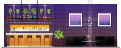 Interior scene of modern pub with bar counter , table and chairs stock illustration
