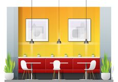 Interior scene of modern restaurant with tables and chairs for customer vector illustration