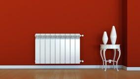 Interior scene with radiator. 3d empty interior scene with radiator and vases Stock Images