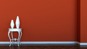 Interior Scene With Red Wall Vector Illustration