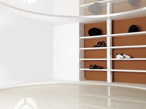 Interior scene with the shelves Stock Photography