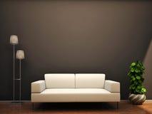 Interior scene sofa lamp flower wall Stock Photos