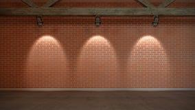 Interior scene with wall from bricks Royalty Free Stock Photo