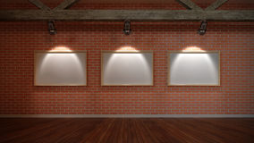 Interior scene with wall from bricks Stock Image
